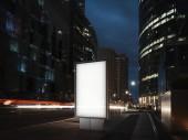 Prázdné osvětlený nápis v noci ve městě. 3D vykreslování