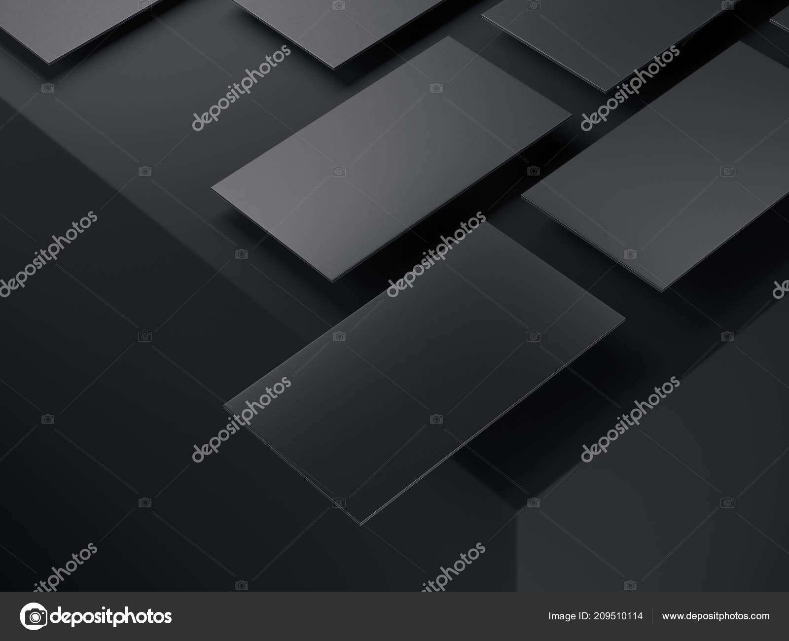 Gros Plan Des Cartes De Visite Noirs Sur Fond Noir Rendu 3d Images Stock Libres Droits