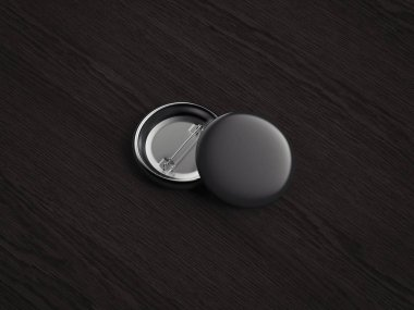 Black pin buttons on dark wooden background, 3d rendering.