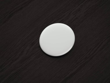 White blank pin button on dark wooden background, 3d rendering.