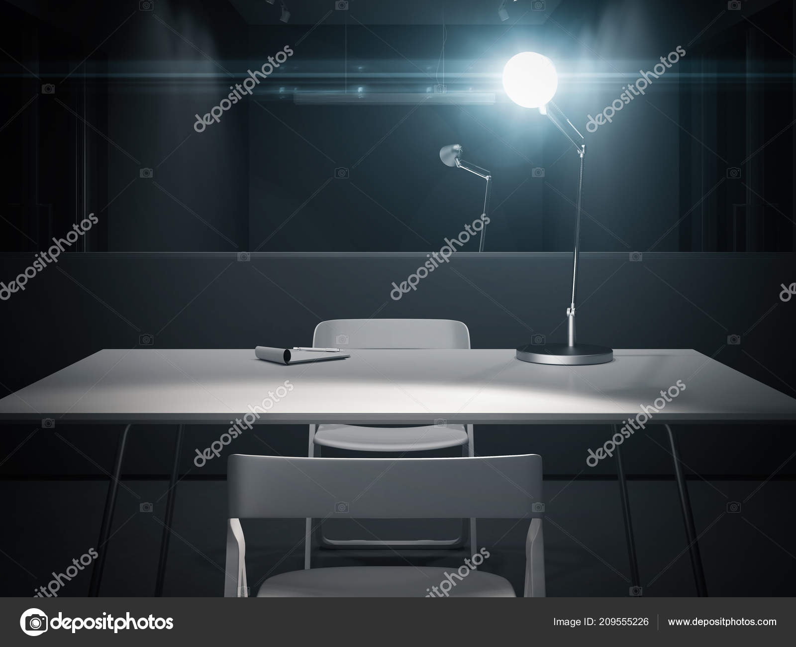 Dark Interrogation Room With Switched On Lamp 3d Rendering Stock And Big Mirror Photo By Ekostsov
