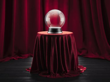 Magic ball fortune teller on the table covered red cloth, 3d rendering.