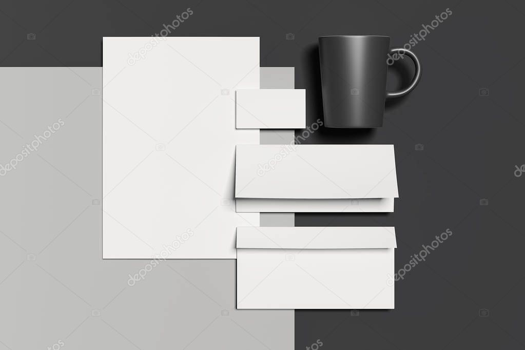 Blank white business stationery mock-up, template for branding identity with black mug on dark background. 3D rendering. stock vector