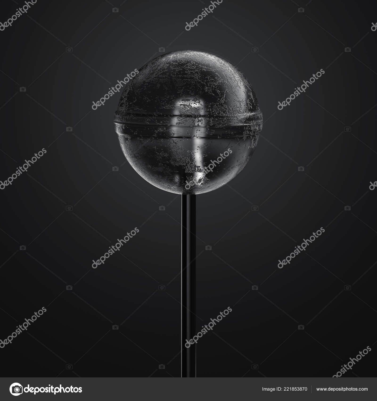 Black Realistic Transparent Lollipop On Black Background 3d