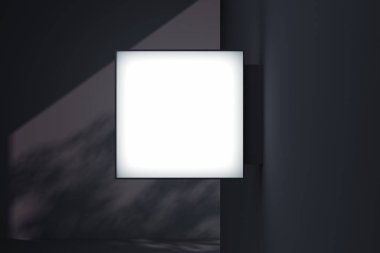 Blank square store signboard. Empty shop lightbox on the wall. 3d rendering.