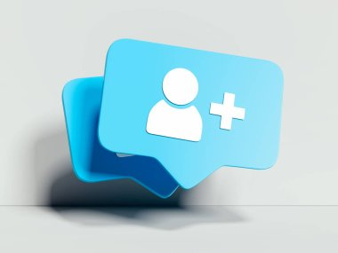 Follower symbol or icon on white background. 3d rendering. Social media concept.