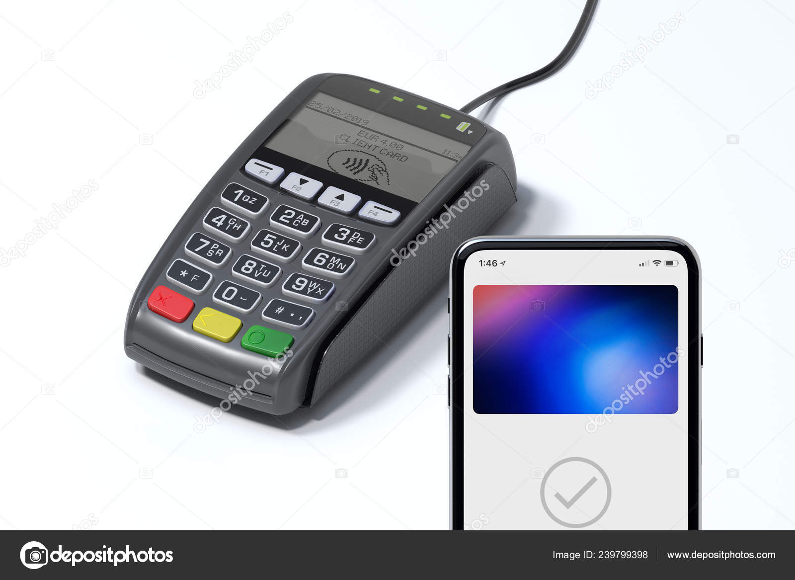 POS payment terminal and mobile phone  NFC payments concept