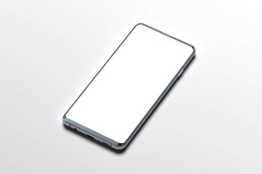 White Mobile phone with blank screen isolated on white background. 3d rendering. Copy space. Empty space. Minimalism stock vector