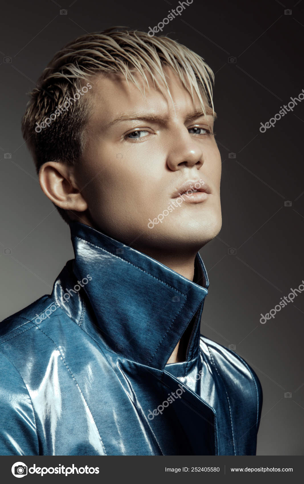 Handsome Stripped Blonde Male Model Wearing Blue Coat Grey Isolated Stock Photo C Phoenixstockphoto Gmail Com 252405580