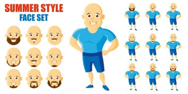 Summer Style Man Face Set Cartoon character