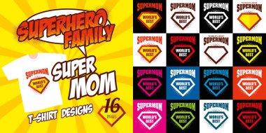 Set Super mom logo superhero T-shirt design