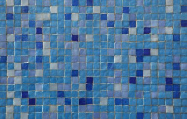 Blue mosaic tiles. Background texture.