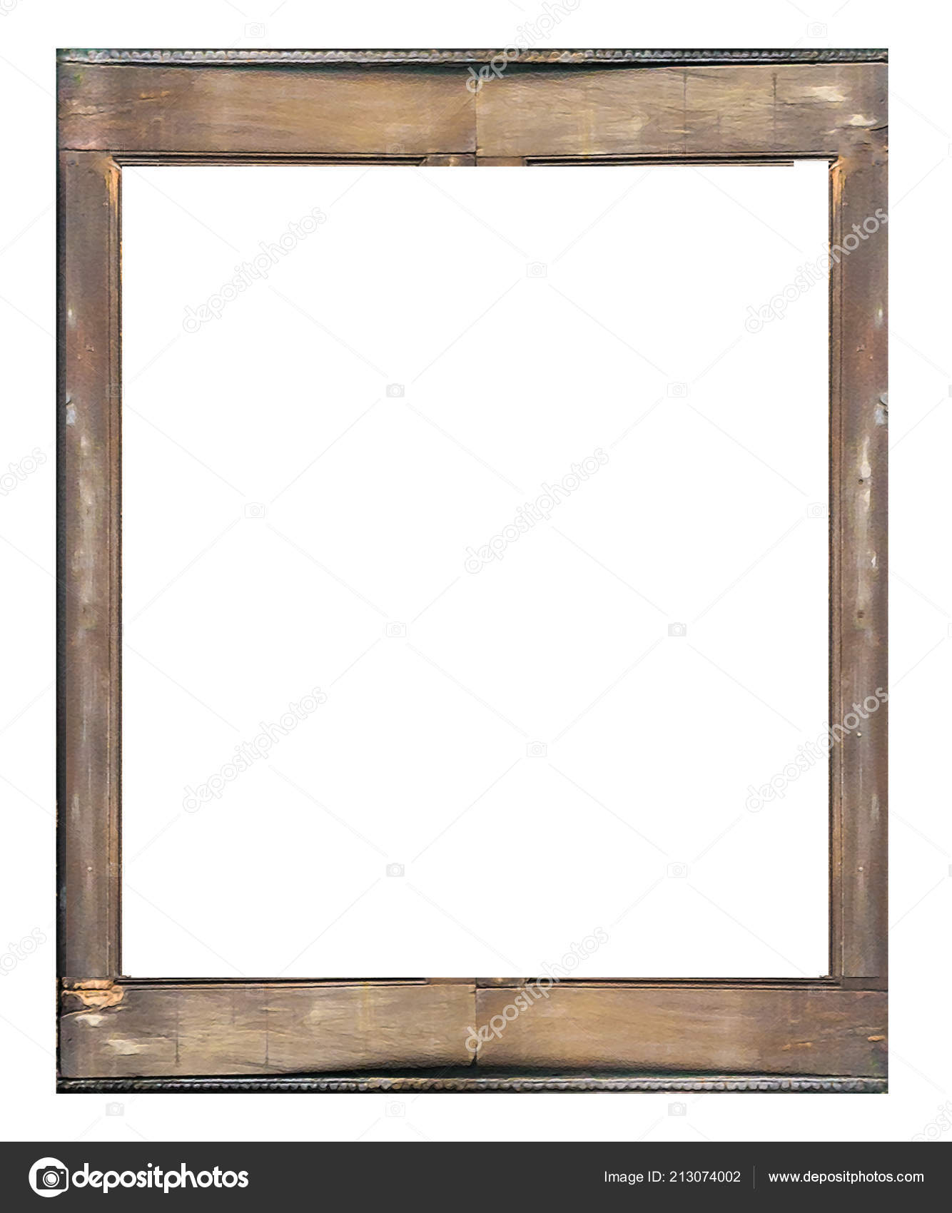 Old Wasted Wooden Frame Isolated White Background — Stock Photo ...