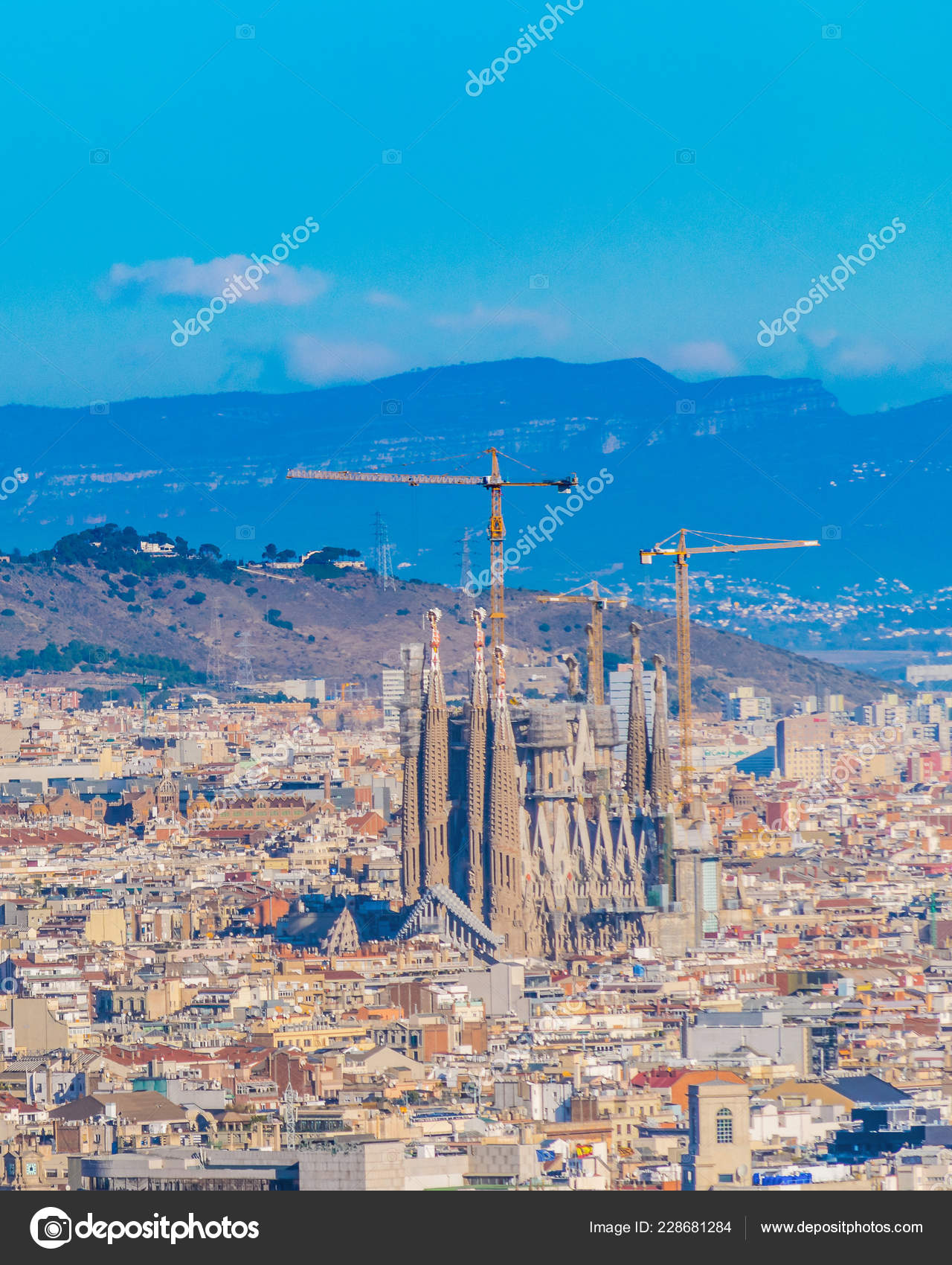 Barcelona Spain January 2018 Aerial View Barcelona City Montjuic