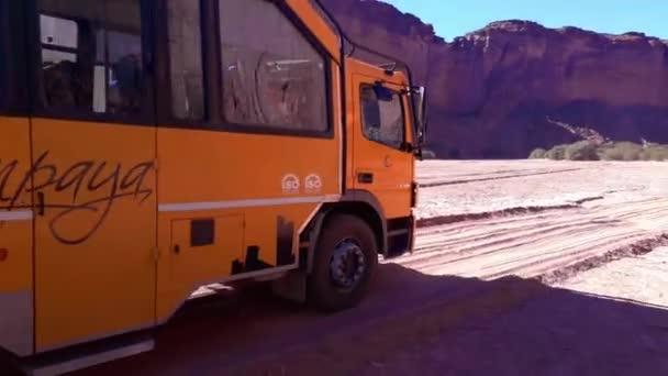 Trip bus arrving to talampaya national park, la rioja province, argentina