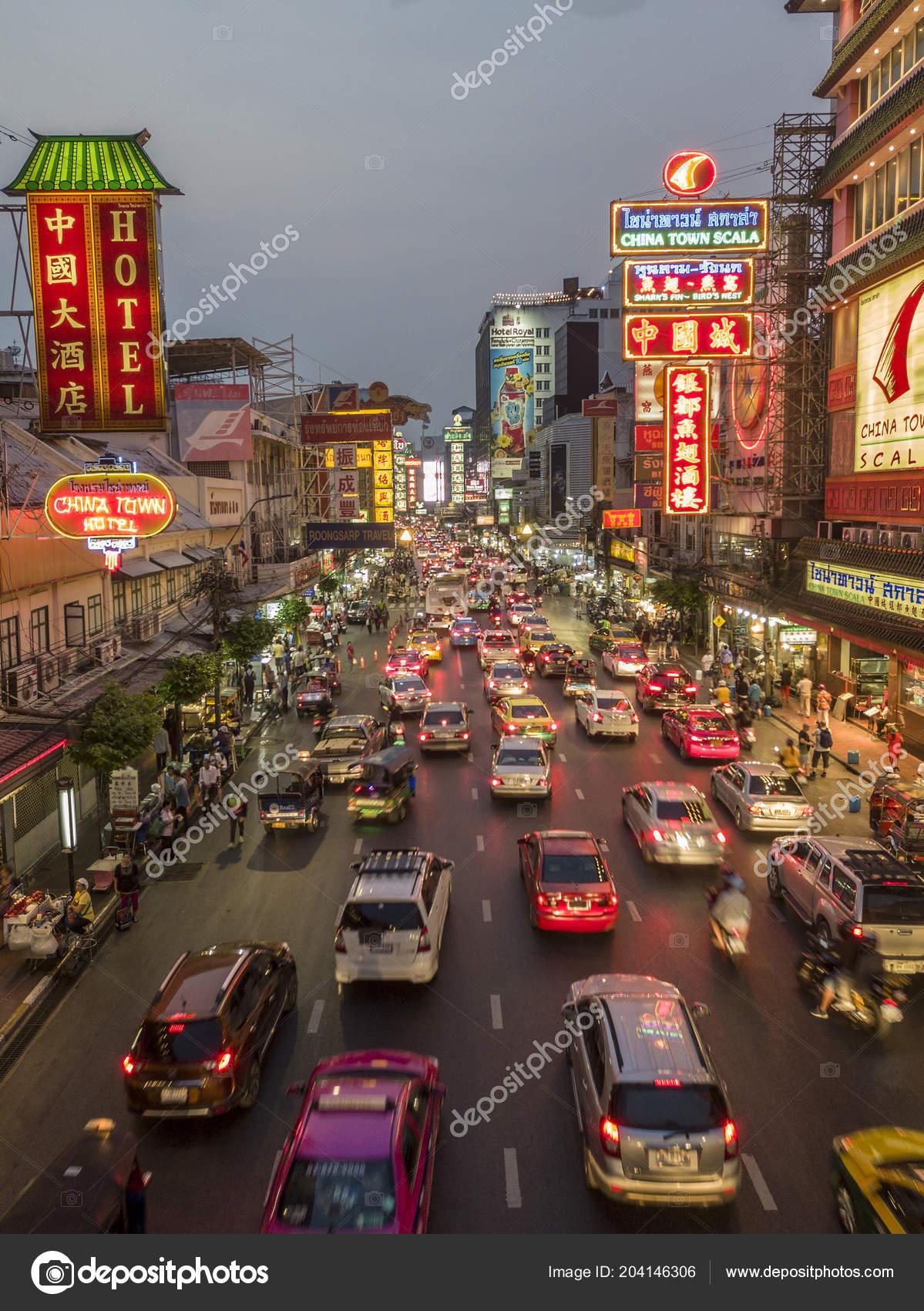 Evening Yaowarat Street Chinatown Bangkok Thailand Stokovoe