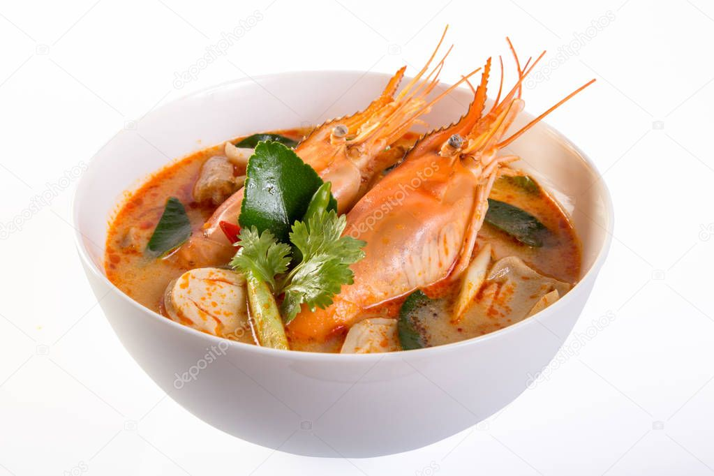 Tom yam kung is a spicy clear soup typical in Thailand