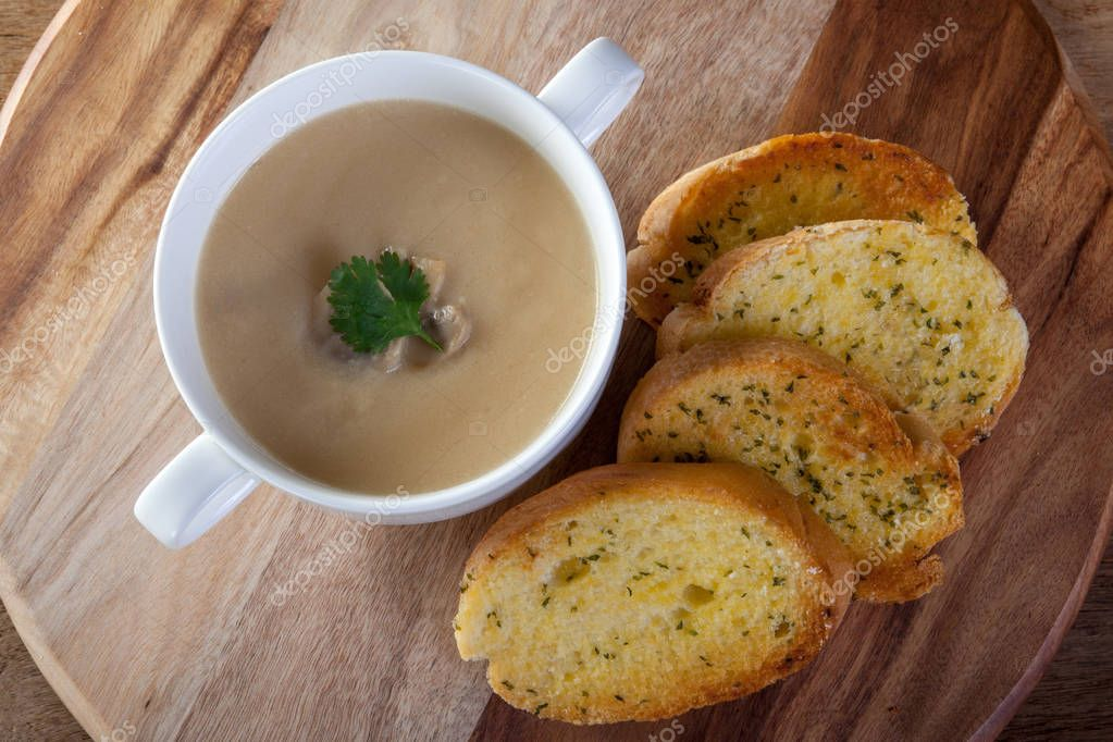 Mushroom Soup and Garlic Bread