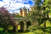 Fotografie Medieval castles of Loire valley - beautiful Montreuil-Bellay. France.