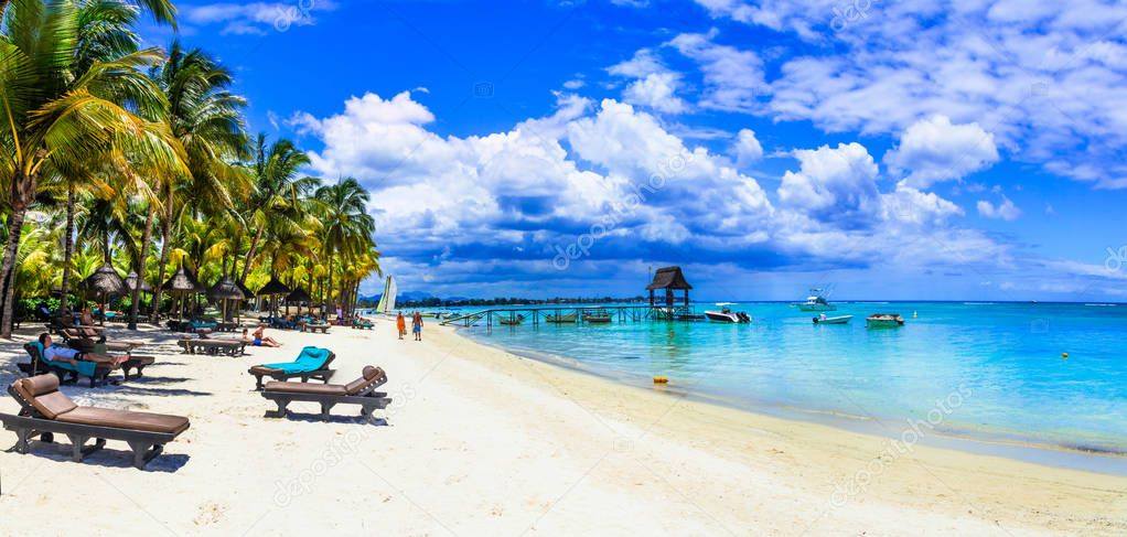 Holidays in tropical paradise - beautiful beaches of Mauritius island.