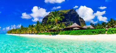 Gorgeous white sandy beaches and turquoise waters of Mauritius island