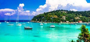 Idylic  island Paxos with turquoise waters,Lakka bay, Ionian island,Greece.