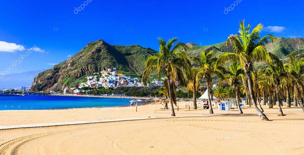 Best beaches of Tenerife - Las Teresitas near Santa Cruz. Canary,Spain.