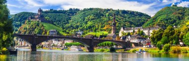 Landmarks of Germany -  medieval Cochem town, Rhine river.