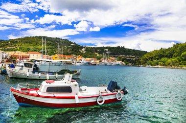 Beautiful Ionian island Paxos, view of Lakka village and bay. Greece.