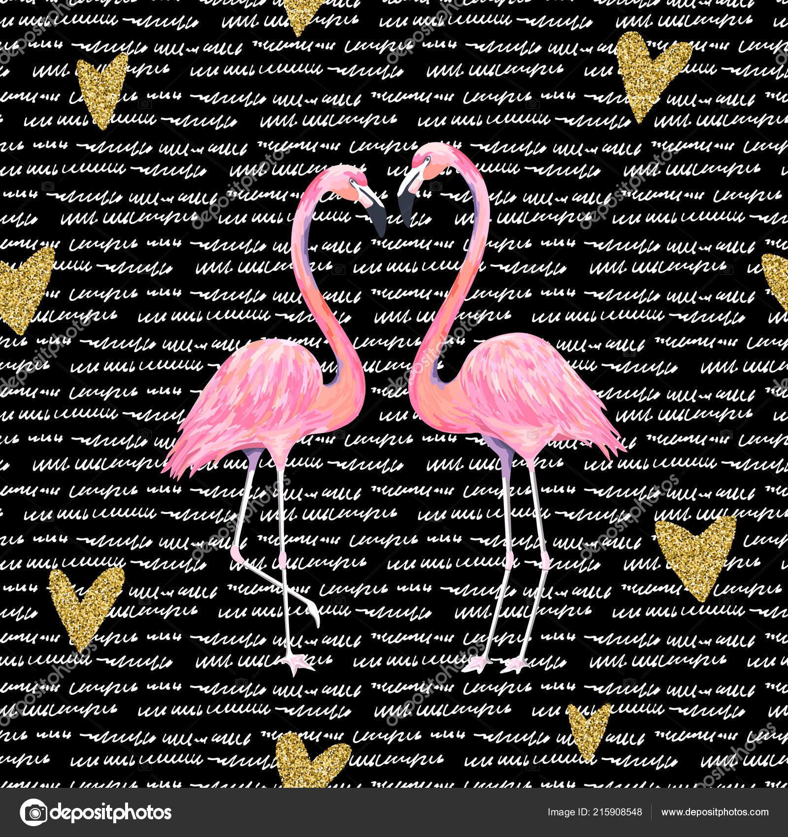 Carte Saint Valentin Avec Flamant Rose Coeur Oiseau Paillettes