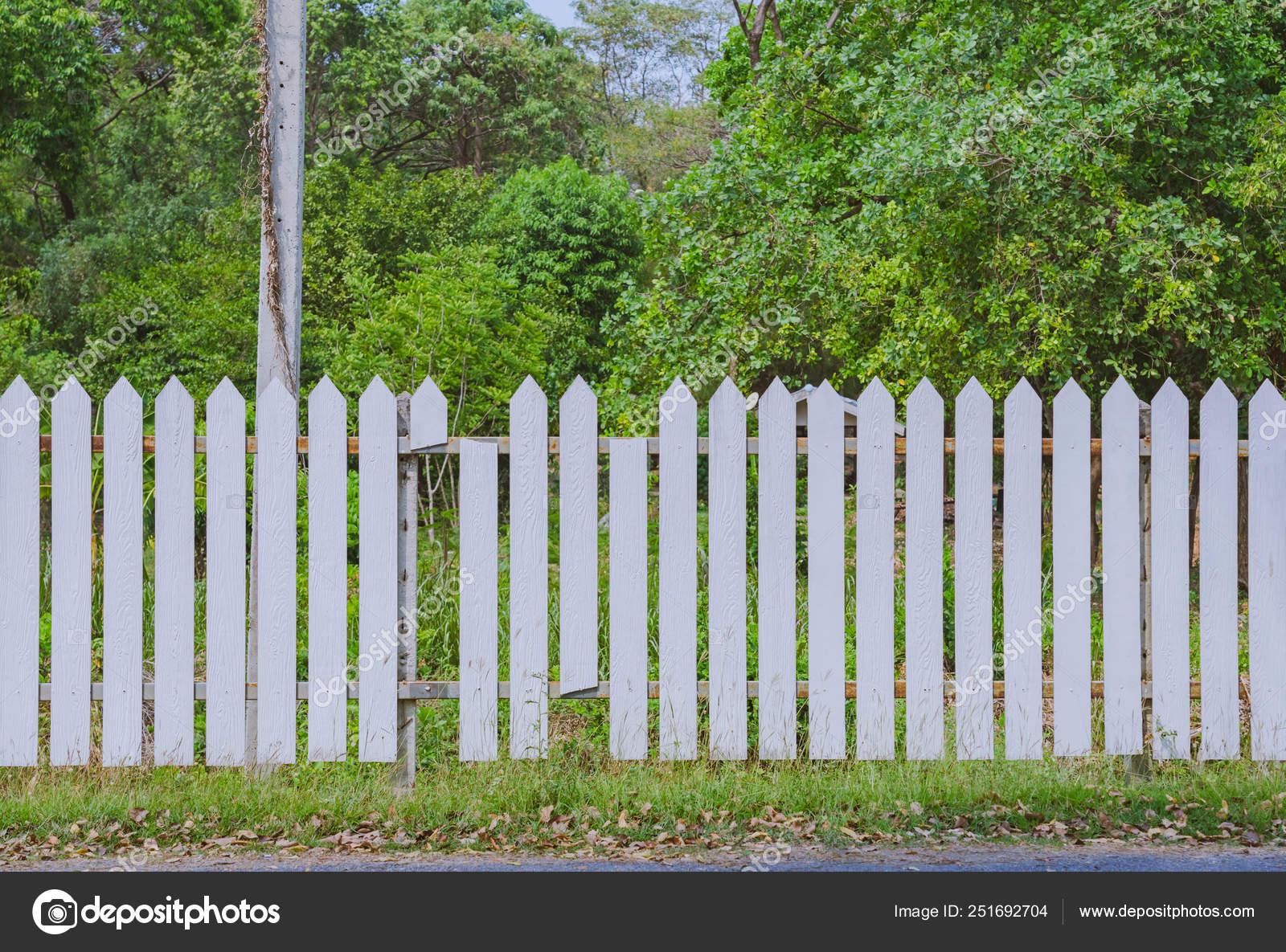 Staccionata Bianca In Legno vecchio recinto di legno bianco con bordo rotto nella zona