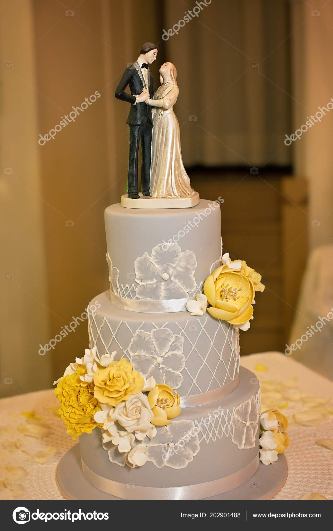 Grey White Themed Wedding Cake Yellow Flowers Wedding Topper Stock