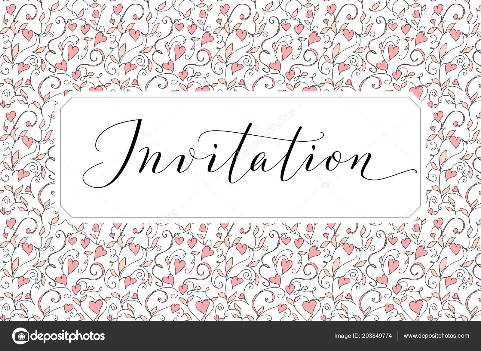 Tarjeta De Invitación Con La Mano Escrita Fondo
