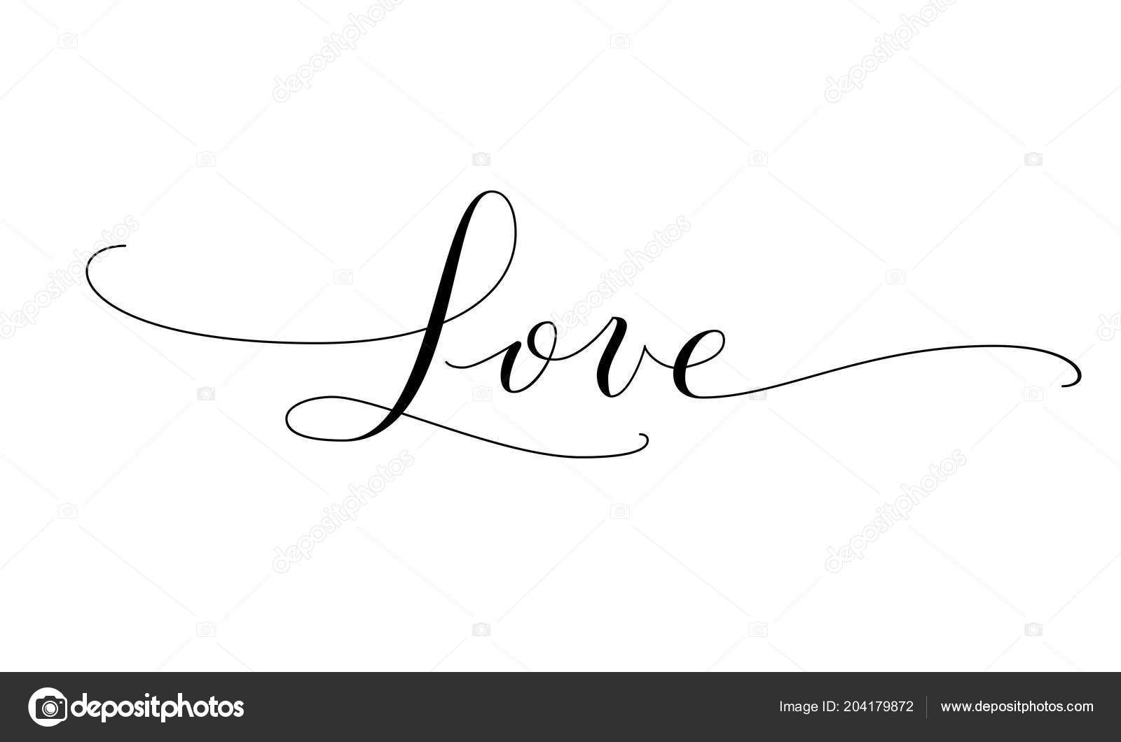 Love Word Hand Written Custom Calligraphy Great For Valentine Day