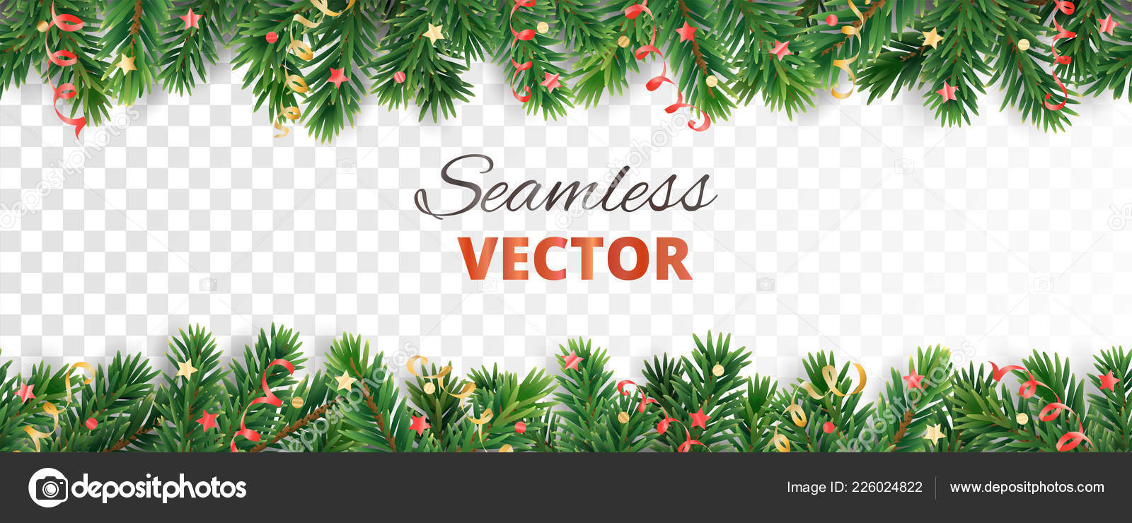 Seamless vector decoration isolated on white. Christmas tree frame ...