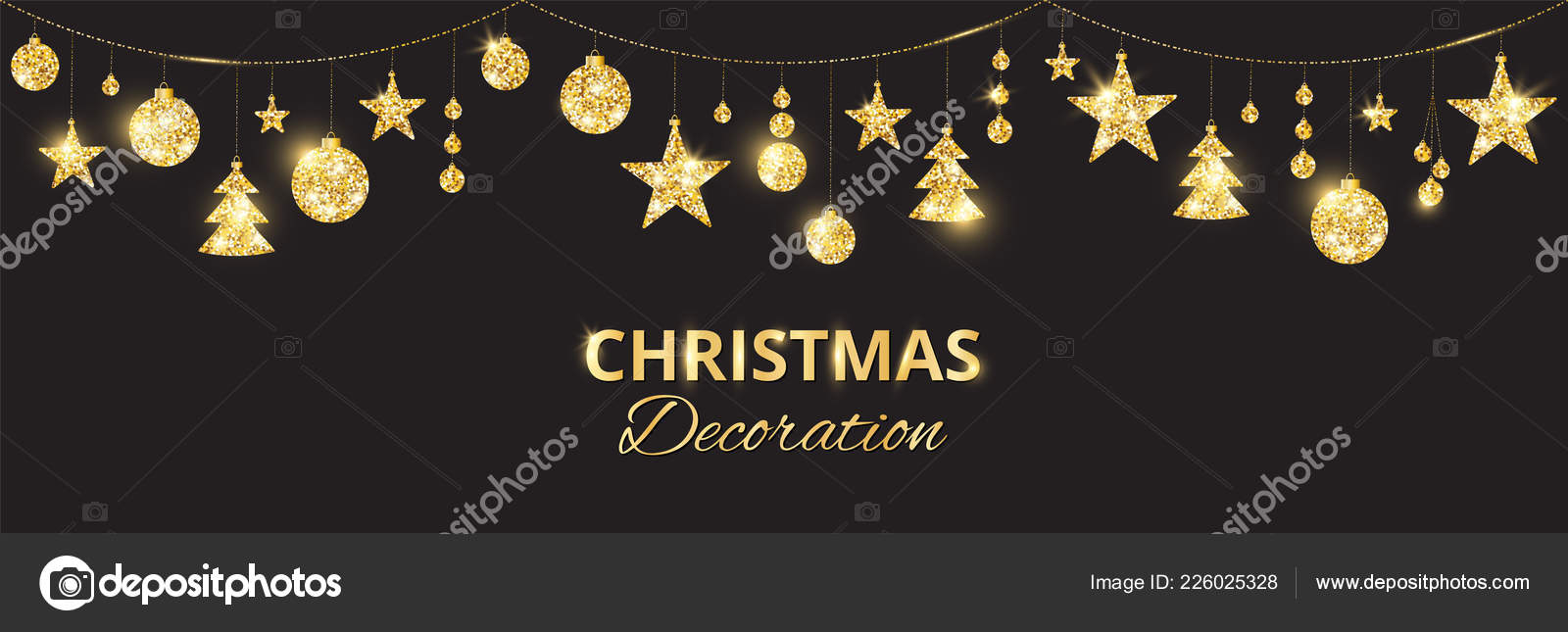 christmas golden decoration on black background hanging glitter balls trees stars holiday vector frame for party posters headers banners
