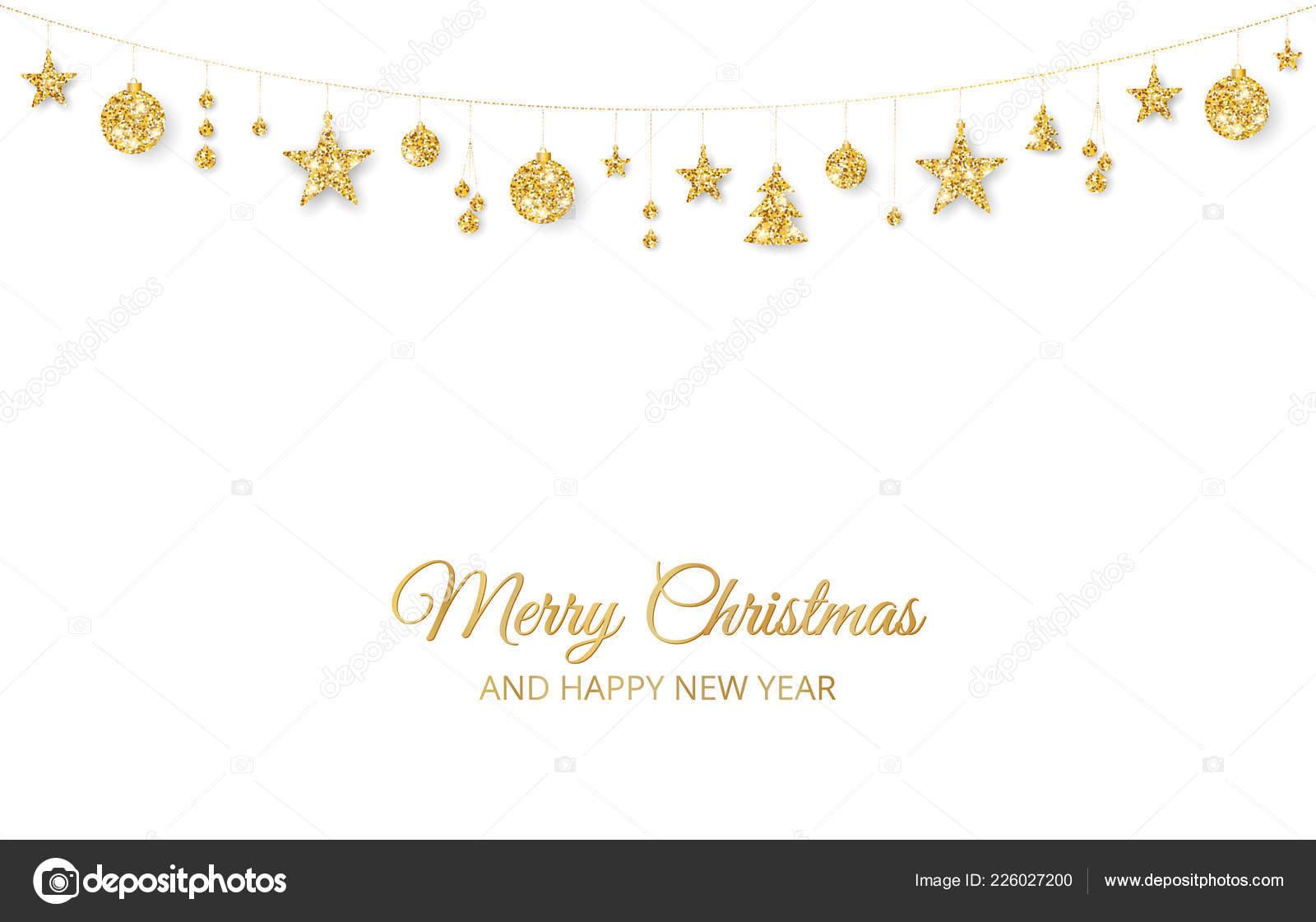 christmas golden decoration on white background merry christmas and happy new year card hanging glitter balls trees stars