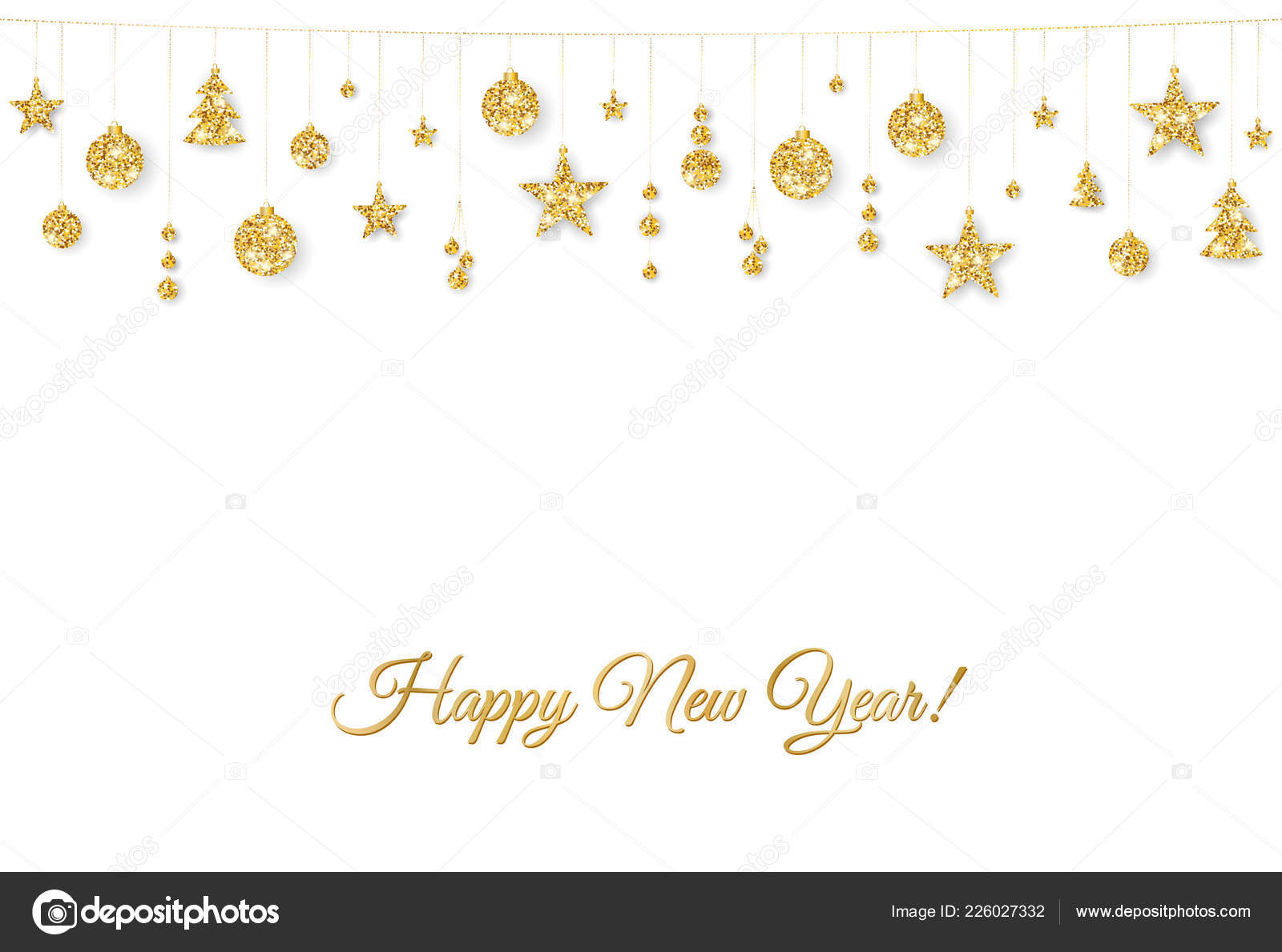 happy new year card christmas golden decoration on white background stock vector