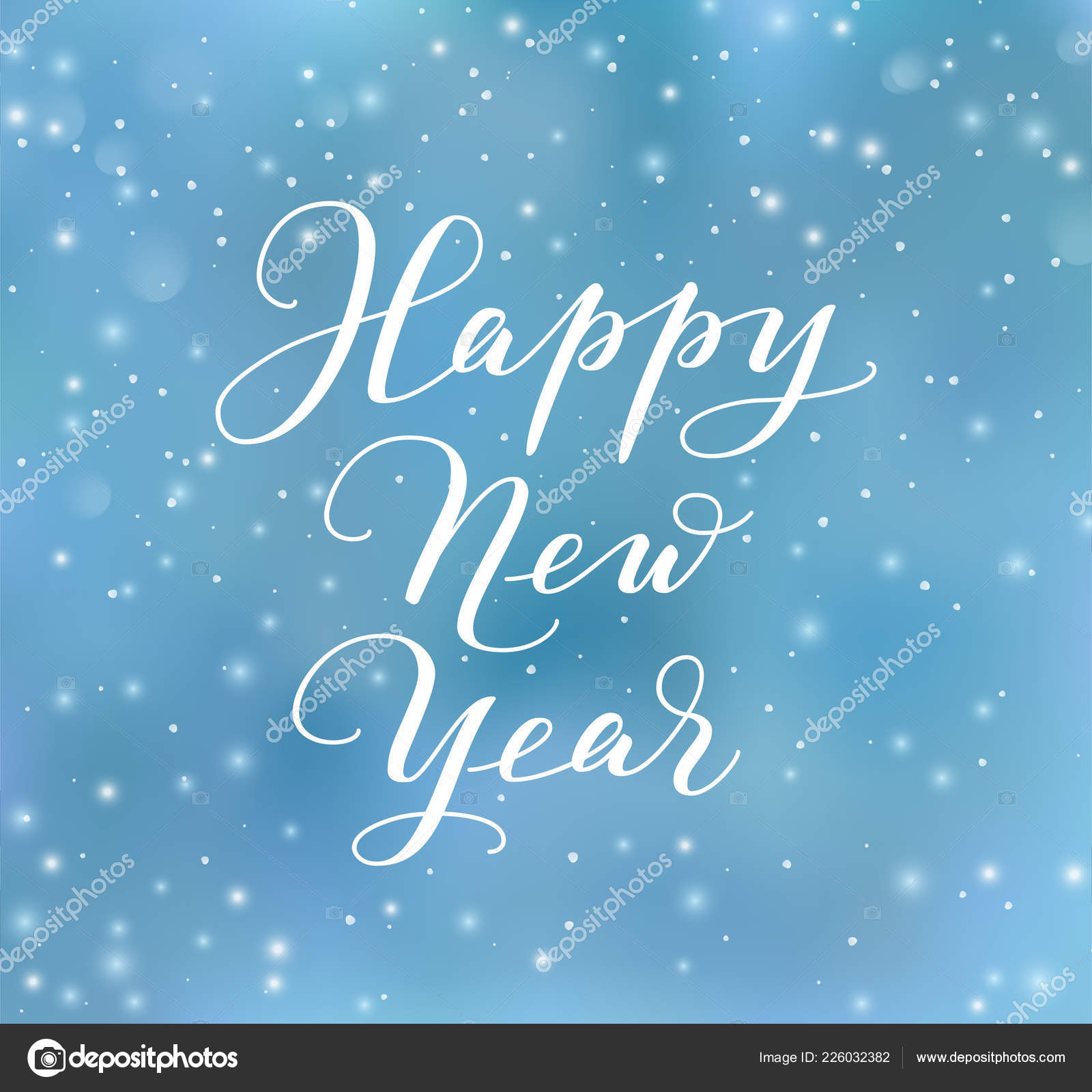 happy new year calligraphy blue background with vector falling snow stock vector