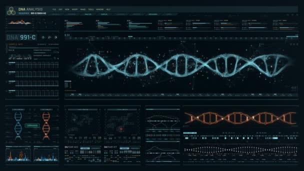 detaillierte digitale Schnittstelle des futuristischen dna-Analyseprozesses. menschliche DNA- Sequenzüberwachung. qualitativ hochwertige medizinische Versorgung. Frontansicht des grünen futuristischen medizinischen Bildschirms im Krankenhaus.