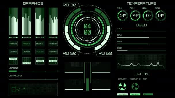 Futuristisches Interface / Digitaler Bildschirm / Ultra detaillierter abstrakter digitaler Hintergrund. Blinkende und schaltende Indikatoren und Zustände, die die Arbeit der Kommandozentrale, die Verarbeitung von Big Data, maschinelles Deep Learning, Datenanalyse zeigen. Reibungslose, allmähliche Erscheinung.