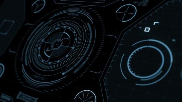 Kruhové rozhraní HUD. Modrá perspektiva Hi-tech futuristické zobrazení. Boloňský knoflík. Data počítače Head-up Display. Futuristický úvod.
