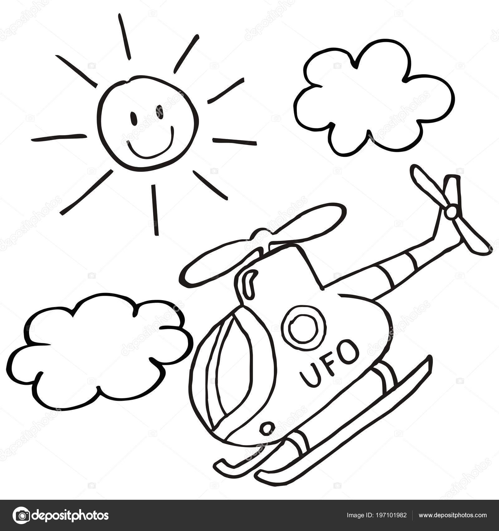 Hubschrauber Und Sonne Vektor Icon Malvorlagen Für Kinder ...
