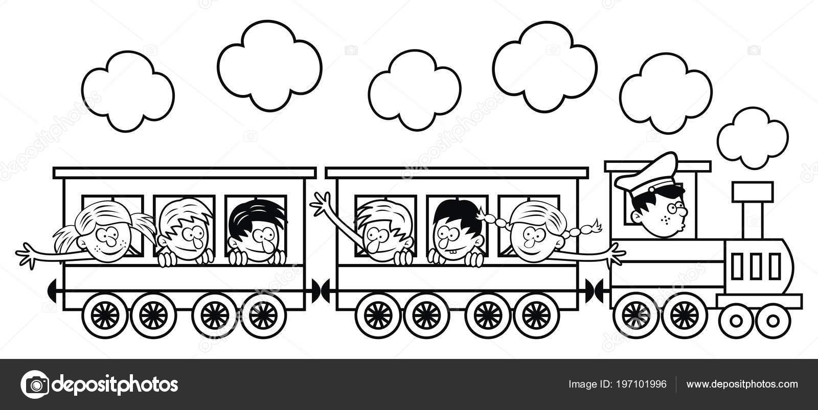Tren çocuklu Bir Yolculuğa çıkıyor Vektör çizim Boyama Sayfası