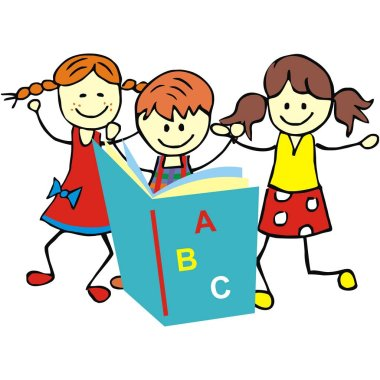 children and textbook, vector illustration
