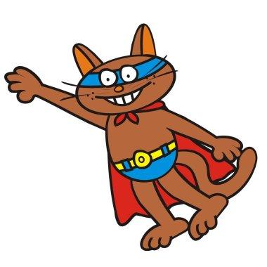 Tomcat a superman, funny vector icon