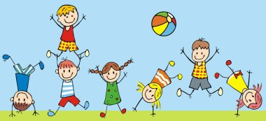 Jumping kids, vector icon, funny illustration
