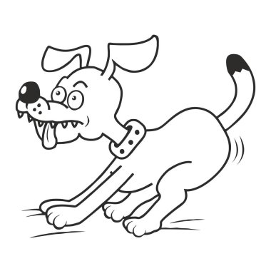 dog and tongue, coloring book, vector black and white icon
