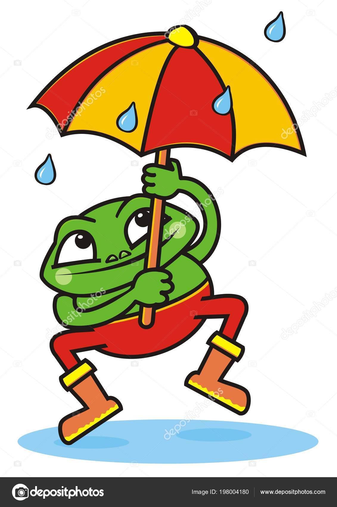 Coloriage Grenouille Avec Parapluie.Grenouille Parapluie Illustration Vectorielle Fou Drole