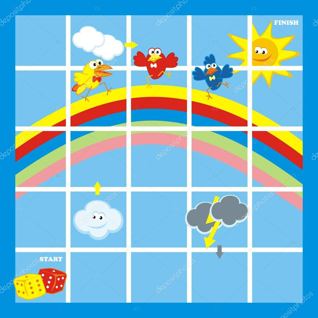 Board game for little children, funny illustration, vector, birds and rainbow